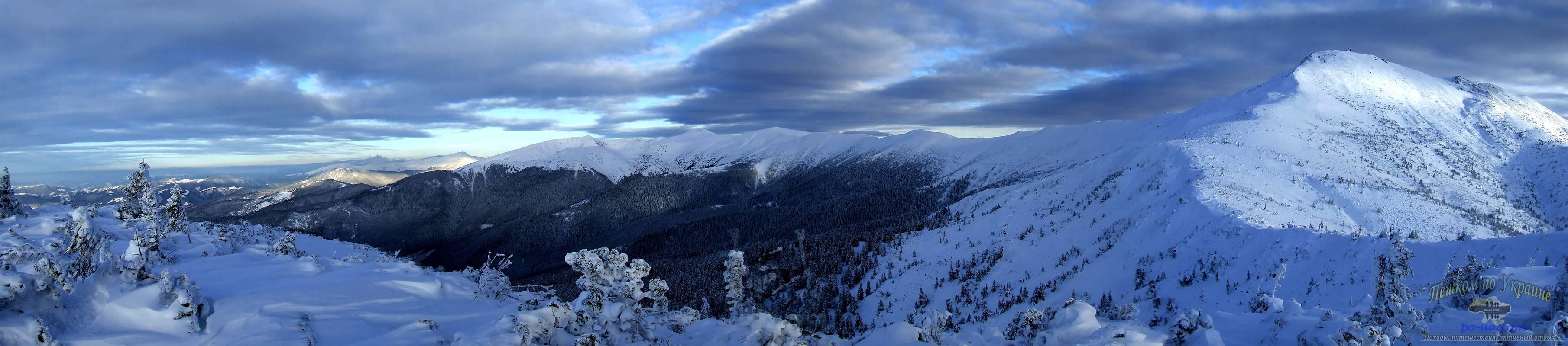 Панорама Черногорского хребта зимой