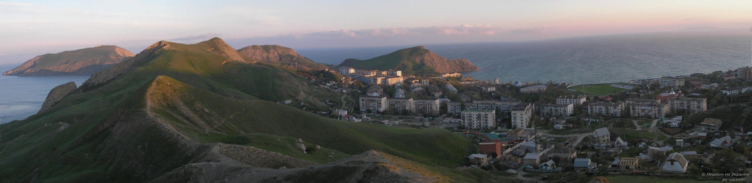 Панорама Орджоникидзе и полуострова Киик-Атлама