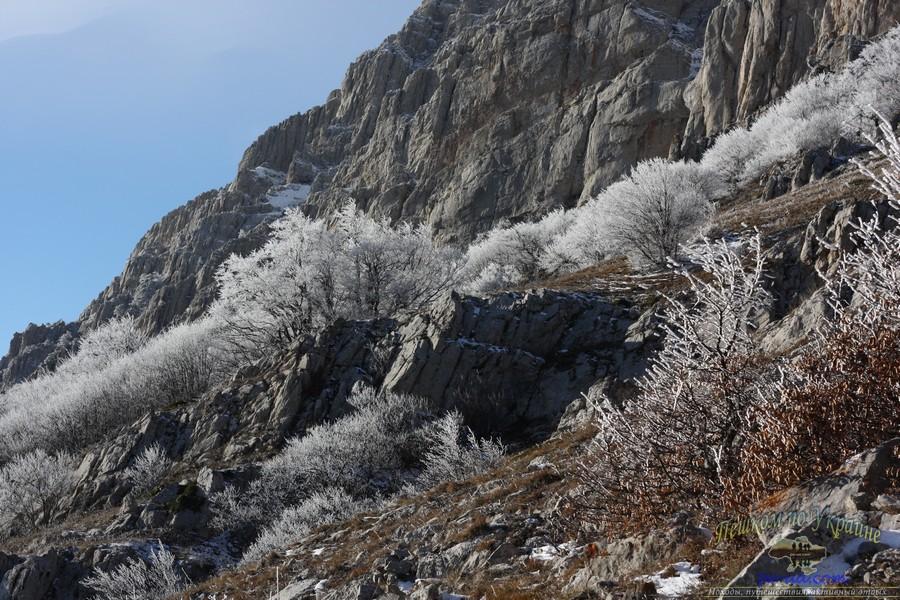 Дикий отдых в Крыму, зимний пейзаж