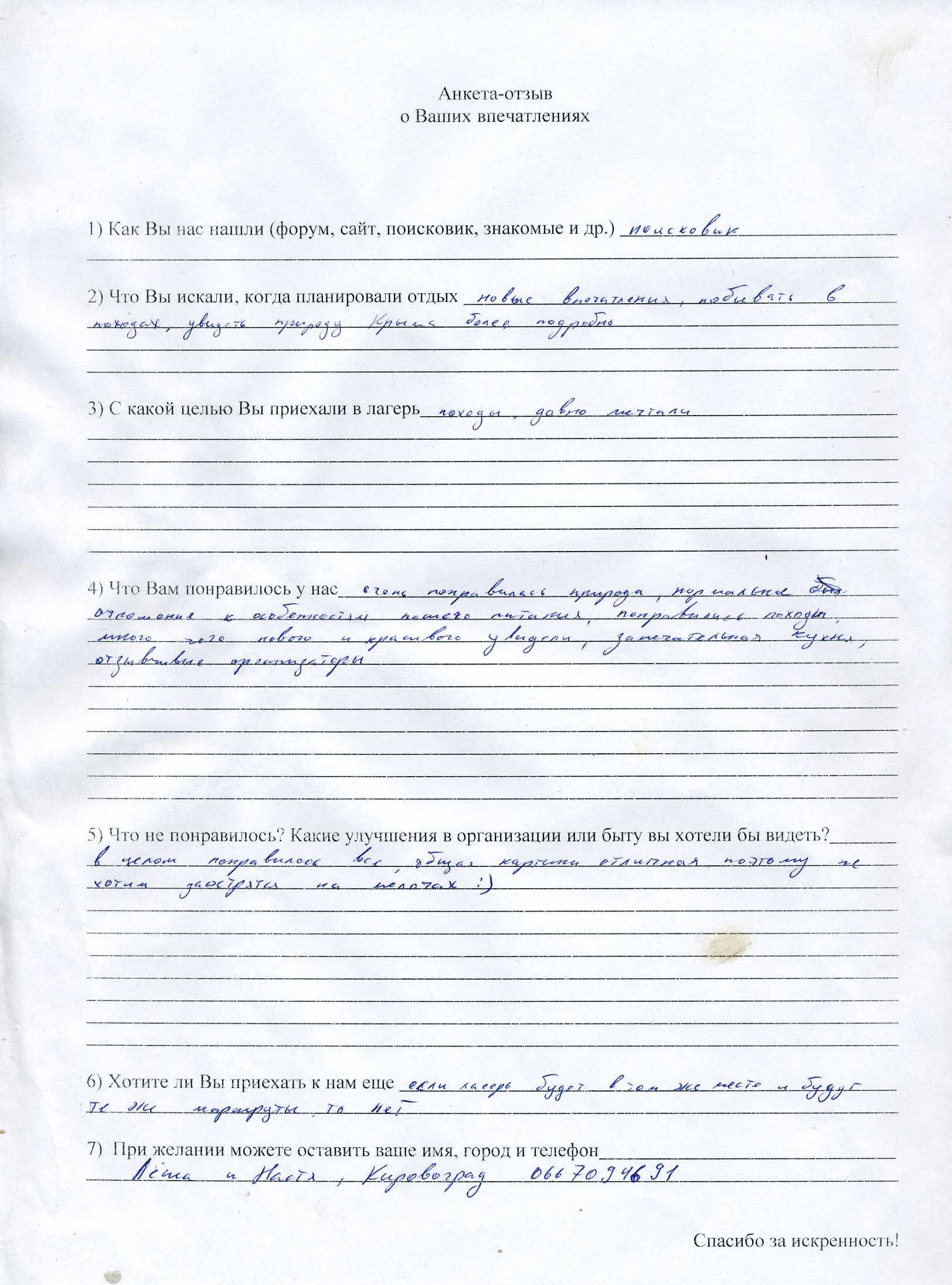 Отзыв об отдыхе в Крыму Алексея и Анастасии, г.Кировоград
