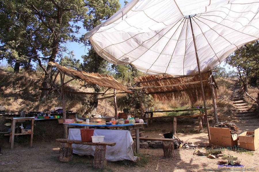 Быт палаточного городка, летний лагерь в Крыму