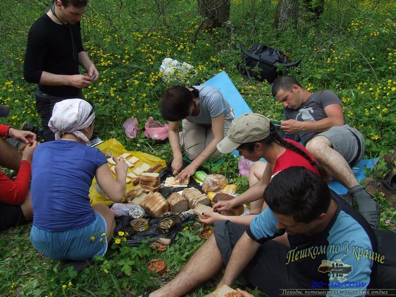 Туристический поход по Крыму, перекус