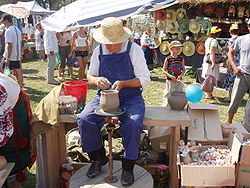 Описание: http://upload.wikimedia.org/wikipedia/commons/thumb/2/29/Ukrainian_Potter_with_potter%27s_kick_wheel.JPG/250px-Ukrainian_Potter_with_potter%27s_kick_wheel.JPG
